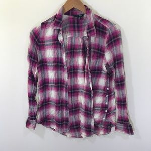 Lucky Brand Pink Plaid Button Down Shirt Size S
